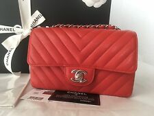 Auth BNIB Chanel Caviar Leather Chevron Mini Rectangular Flap Bag Red Rectangle