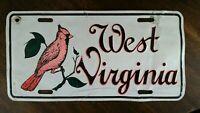 West Virginia License Plate Cardinal Bird Man Cave Vanity W VA Football Mounties