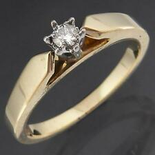 Simple 2-Tone Solid 9k YELLOW GOLD SOLITAIRE DIAMOND ENGAGEMENT RING Sz M1/2