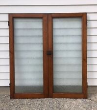 (2) Antique Cabinet Doors Embossed Glass Dr Office Cupboard Vintage Pair