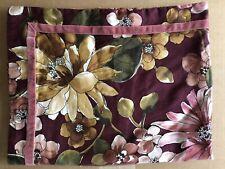 Collection By Charter Club Cotton Sateen Floral Pillow Cover Velvet Trim EUC