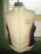MEN'S HARLEY DAVIDSON MOTORCYCLE PUFFY RETRO STYLE EMBROIDERED VEST sz LARGE