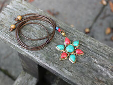 Tibetan Turquoise Coral Pendant Boho gypsy hippie flower necklace Gift for her