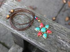 Coral turquesa tibetana Colgante Collar De Flor Hippie Bohemio Gypsy Regalo Para Ella