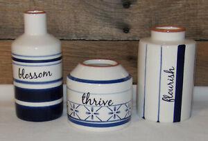 Blue White Ceramic Vases BLOSSOM THRIVE FLOURISH 3pc Set Cobalt Flower Vases New