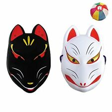 Japanese Fox Mask Kitsune Omen Black & White Halloween Cosplay Costume Japan F/S