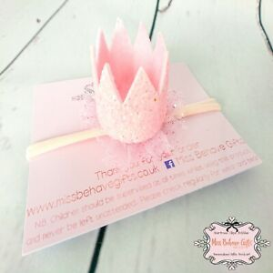 Sparkly Baby Pink Glitter Crown Headband Girl Infant Toddler
