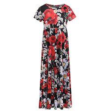 Floral Printed Girls Short Sleeve Cotton Black Full Length Dresses For Kids 5-6Y