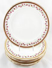 """SET 7 ANTIQUE MINTON G9087 8 3/4"""" PLATES RAISED GOLD ENCRUSTED PINK ROSE """"AS IS"""""""