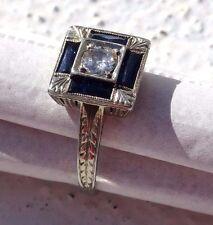 100 YEAR OLD 1/3CT EURO CUT WHITE DIAMOND 4 BLU SAPPHIRES 18CT WTE GLD SETTING