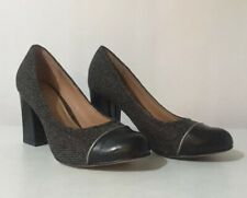 Boutique by HOTTER Leather Block Heel Court Shoes Textured Herringbone ~UK 6~