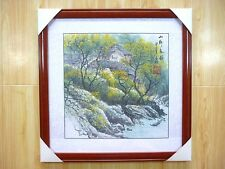 Mounted Framed Oriental Chinese Art Ink Brush landscape Painting Signed
