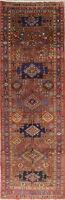 Vintage Geometric Tribal Heriz Serapi Oriental Hand-Knotted 4x11 Rust Runner Rug