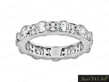 1.32Ct Round Diamond Alternating Milgrain Eternity Band Ring Platinum F Vs Bezel