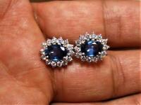 wow 2ct sapphire oval cut diamond beautiful women earrings 14k white gold over