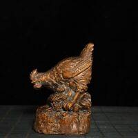 Collect feng shui boxwood carved cock Chinese zodiac chicken statue figurines