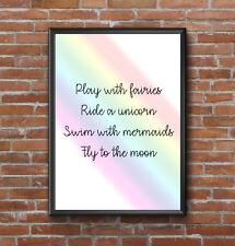 INSPIRATIONAL MOTIVATIONAL RAINBOW FAIRIES UNICORN QUOTE POSTER PRINT WALL ART