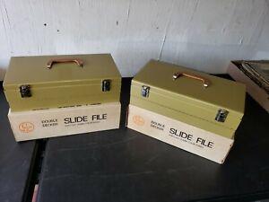 (2) Vintage 35mm Double Metal Storage Case Holder w/Over 700 Slides 1970's