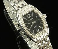 Luxus Damen Uhr Silber Strass Edelstahl Damen Armbanduhr  Watch UVP: 55€ U1488