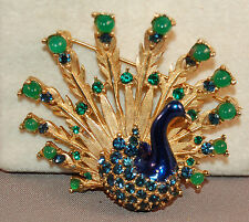 SUPERB Signed BOUCHER Enamel Decorated Peacock Brooch w/Jade Colored Beads!