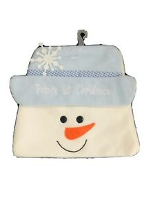 Newborn Infant Baby Boy Blue White Snowman Aviator Winter  Hat