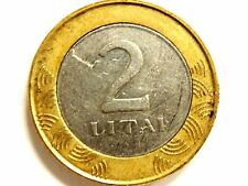 2002 Lithuania Two (2) Litai Bi-Metallic Coin