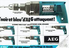 Publicité Advertising 038  1981   AEG (2p)  perceuse Powermatic SB noir & bleu