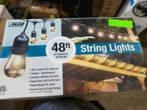 Feit Electric 48ft 24 LED String Lights Set Outdoor Weatherproof