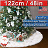 Luxury White Fur Gold Snowflake Christmas Tree Skirt Base Floor Mat Home Decor