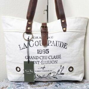 NEW Frenchy White Purse Large Tote Bag Vintage Canvas Upcycled Purse Beach Pool