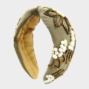 NEW Faux White Pearls & Gold Bugle Beads Floral Embroidery Khaki Boho Headband