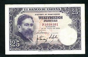 Spain (P147) 25 Pesetas 1954 VF+