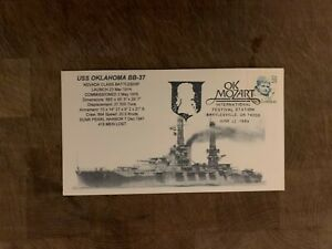 USA 1989 NAVY COVER USCS NEVADA BATTLESHIP USS OKLAHOMA BB-37 MOZART FESTIVAL