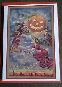 Three flying witches Halloween greetings card, vintage style, All Hallows Eve
