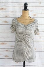 Max Studio - GRAY ivory DOT print WIDE neck short sleeve RUCHED blouse, size L