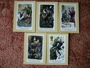 PHQ Stamp card set No 156 SHERLOCK HOLMES, 1993. 5 card set.  Mint Condition.