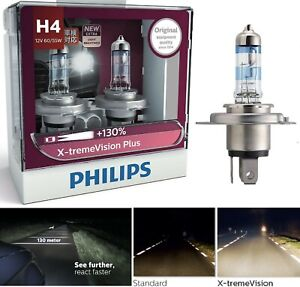Philips X-Treme Vision Plus 130% 9003 HB2 H4 60/55W Two Bulbs Head Light Upgrade