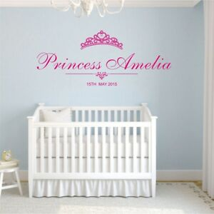 Personal Name Princess Wall Stickers Diadem Crown Individual Decal Bedroom