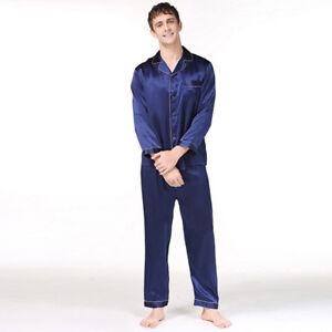 NEU Herren Pyjama Schlafanzug Seide Satin Langarm langer Hose Nachtwäsche#M023