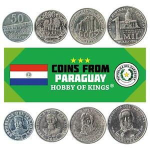 4 COINS FROM PARAGUAY. FOREIGN CURRENCY: 50, 100, 500, 1000 GUARANIES 2006-2018