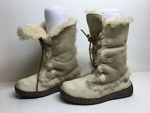 WOMENS BORN WINTER SUEDE IVORY BOOTS SIZE 8