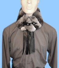 New MENS GENUINE CHINCHILLA FUR SCARF -COLLAR with LEATHER FRINGE & BELT CLOSURE