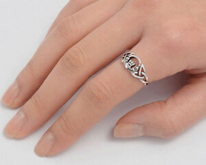 Celtic Claddagh Ring Genuine Sterling Silver 925 Jewelry Face Height 8mm Size 8