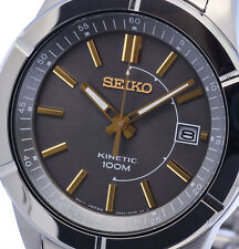 NEW MEN'S GREY DIAL SEIKO KINETIC 5 MONTH POWER RESERVE ANALOG WATCH SKA543P1