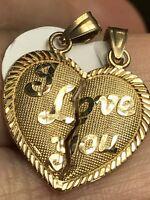 "GOLD 14k I Love You 2 Pc Split Heart Broken Pendant Charm Yellow 2.2g 1"" 20x20mm"