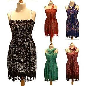 Strappy Boho Batik Sexy Sun Top Short Dress 12 14 16 18 20 with scarf tie belt