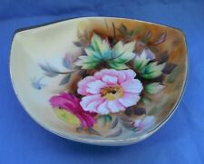 Beautiful Vintage Hand painted Triangular  Floral Bowl with gold trim