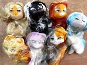 Lot of 7 Monster High Doll Head Lanard Catwalk Kitty Doll Head BIN
