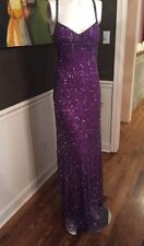 Camille La Vie Purple Beaded Formal Dress Cut out sides and low back Size 8