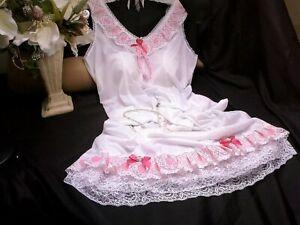 SISSY NYLON FULL SLIP PETTICOAT BABY PINK LACE BULIT UP SHOULDER SATIN ROSES BOW